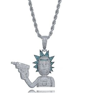 Rick and Morty Pendant Full Zircon Silver Necklace